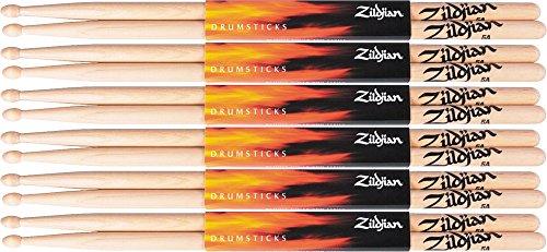 Zildjian-6-Pair-Natural-Hickory-5A-Wood-Drumsticks-Plus-1-Pair-Free