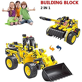 Building Bricks STEM Toy, 261pcs Engineering Bulldozer Truck and Tank Construction Blocks, Best Birthday Gifts for 6, 7 and 8 Year Old Boy