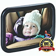 Baby Mirror For Car -Baby Car Mirror - For Rear Facing Car Seat- Wide Angle View, Adjustable Mirror w/ Shatterproof Glass, Crystal Clear Reflection, Heavy Duty Safety Straps–Perfect Baby Shower Gift!