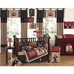 Sweet Jojo Designs Treasure Cove Pirate Red Black Ship Baby Boy Bedding 9pc Crib Set