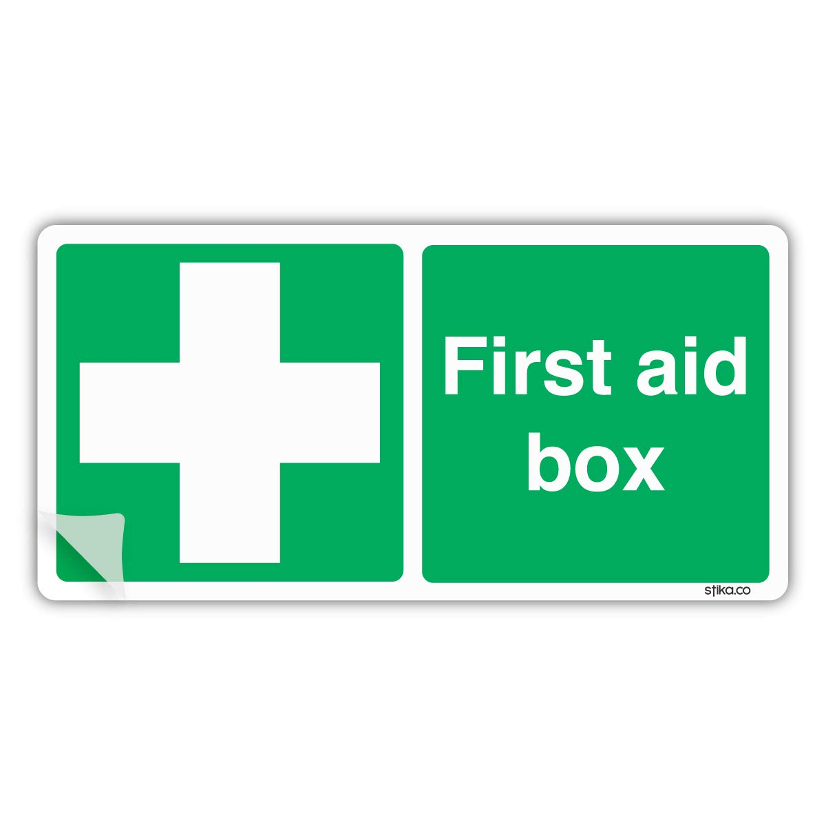 First Aid Box Sign, 20 x 10cm, Self-adhesive Vinyl Sticker, First aid and Emergency Safety Signs stika.co