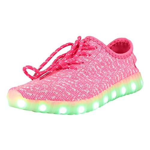 tinta Shoes ' Led 35 Tenis Mens Pnegro Luminous Pink Womens ' USB Flashing Lynnaa Charging Fvq46x