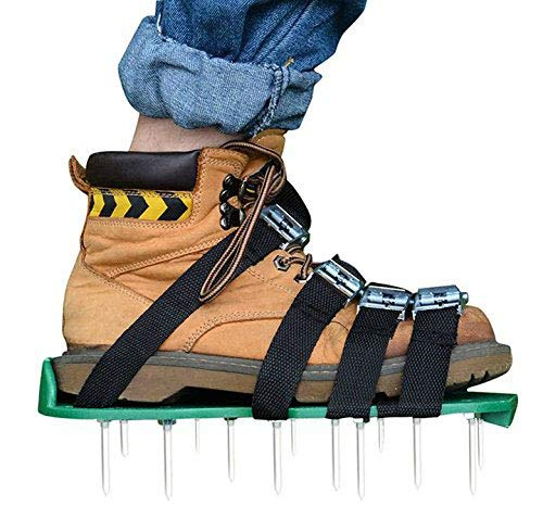 Lawn Aerator Shoes Set [Upgraded] 4 Straps Kitclan(TM) Spiked Sandals for Aerating Your Lawn or Yard with Heavy Duty Zinc Alloy Buckles by Kitclan