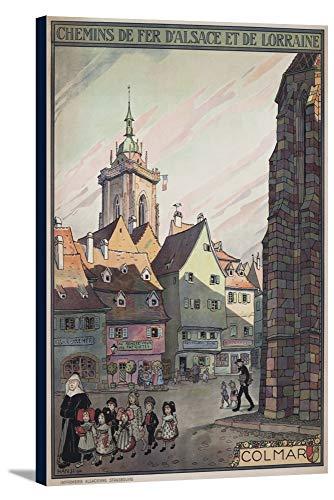 Colmar - Chemins de Fer d'Alsace et de Lorraine Vintage Poster (artist: Hansi) France c. 1921 (24x36 Gallery Wrapped Stretched Canvas)