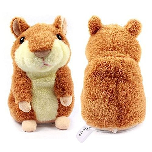 Yoego Cute Mimicry Pet Talking Hamster Repeats What You Say Plush Animal Toy Electronic Hamster Mouse for Boy and Girl Gift,3 x 5.7 inches (Brown)