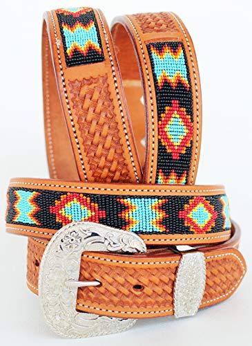 CHALLENGER 45-46 Men's Women Handmade Beaded Basket Weave Tooled Leather Belt 26RT01