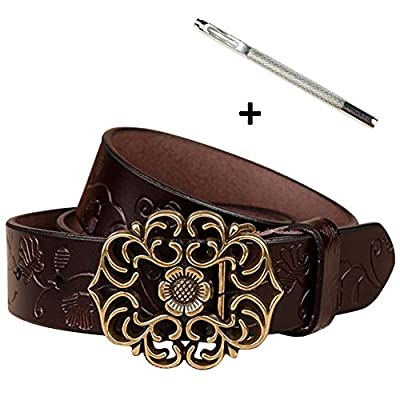 Normcorer Genuine Belt- Floral Embossed- Hollow-Out Buckle- Western Style For Jeans And Dress - Free Hole Puncher