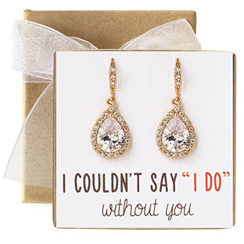 4dcc4048d Amazon.com: AMY O Wedding Bridesmaids Gift Drop Earrings or Jewelry Set in  Silver, Yellow Gold, Rose Gold: Jewelry