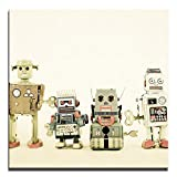 JP London 2in Thick Premium Huge Gallery Wrap Heavyweight Canvas Wall Art Retro Robot Machines Lineup 50in CNVSQL2359