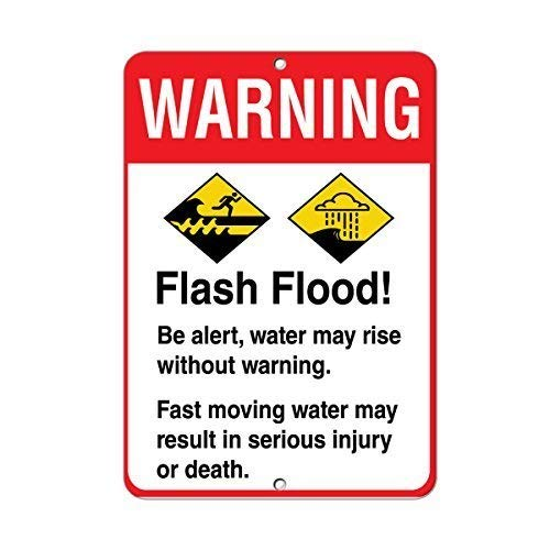 Laurenycy Great Tin Sign Warning Flash Flood! Be Alert Avoid Serious Injury Or Death for Wall Decor Sign 8x12 Inch