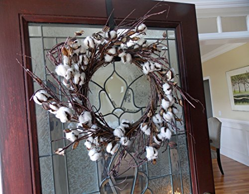 WHD Cotton Ball Wreath for Front Door Wedding Anniversary Centerpiece, Indoor Wall, Rustic Primitive Country Farmhouse Home Decor Decorations, Fixxer Upper Style, Brown & White, 24