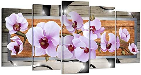 Kreative Arts Large 5pcs Canvas Prints Abstract Orchid Flower Canvas Wall Art Pink Floral Print Painting Modern Decor Artwork for Living Room Bedroom Home Decoration (Large Size 60x32inch)