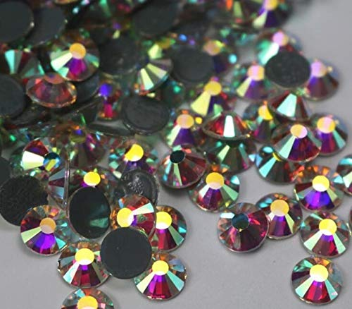 Pukido AAAAA+ Crystal AB/Crystal Clear DMC Super Bright Glass Strass Hotfix Iron On Rhinestones for Fabric Garment/Nail Art - (Color: Crystal AB, Size: ss34 144pcs) ()