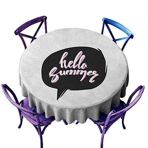 """familytaste Hello Summer,Round Tablecloth D 50"""" Comical Design Phrase Print Inside a Pitch Black Speech Bubble Funky Style Circular Table Cover Washable Polyester"""