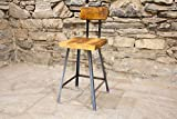 The Brewster Bar Stool | Reclaimed Wood | Hand Made | Industrial Base | Back Rest | Free Shipping Review