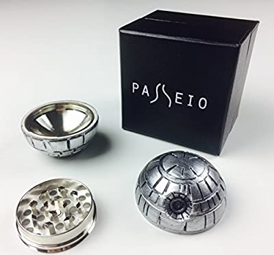 Death star herb grinder: 3 piece magnetic metal grinder for spice tobacco weed with pollen catcher - best gift for star wars fan (gift box included) - pocket size 2'' wide - weed accessories from Passeio