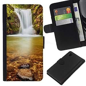 JackGot ( Wateerfall Natura ) Sony Xperia Z1 L39 la tarjeta de Crédito Slots PU Funda de cuero Monedero caso cubierta de piel
