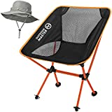 OutdoorMaster Folding Camping Chair – Portable & Compact Foldable Chair with Included FREE Bonnie Sun Hat & Carry Bag – Perfect for Hiking, Fishing, Beach & Backpacking – Orange For Sale