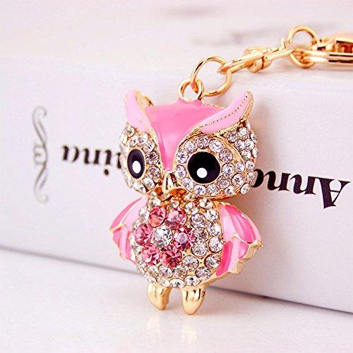 Jzcky Shzrp Lovely Owl Shape Crystal Rhinestone Keychain Key Chain Sparkling Key Ring Charm Purse Pendant Handbag Bag Decoration Holiday Gift(Pink)