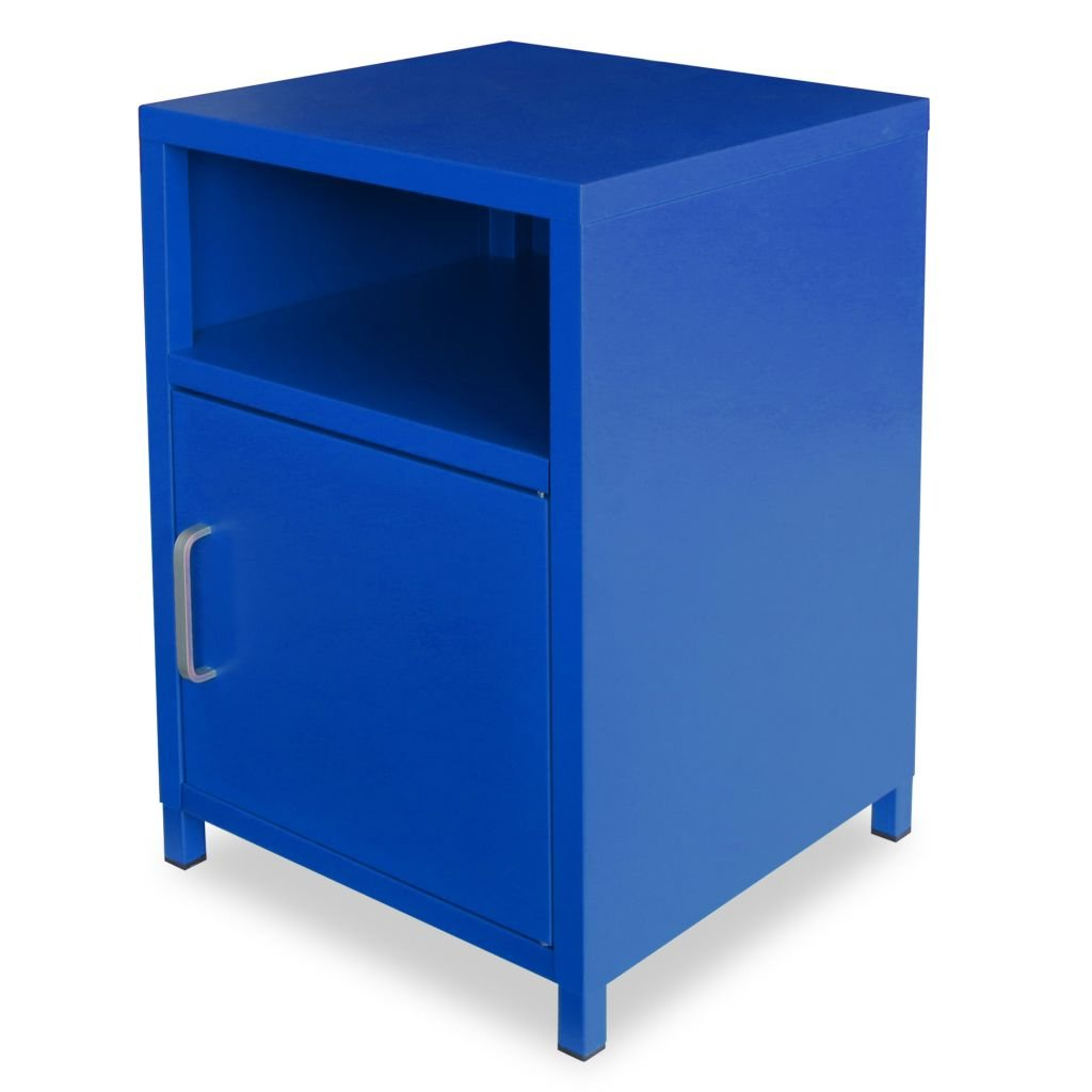 VidaXL Nachttisch Blau Stahl Nachtschrank Nachtkonsole