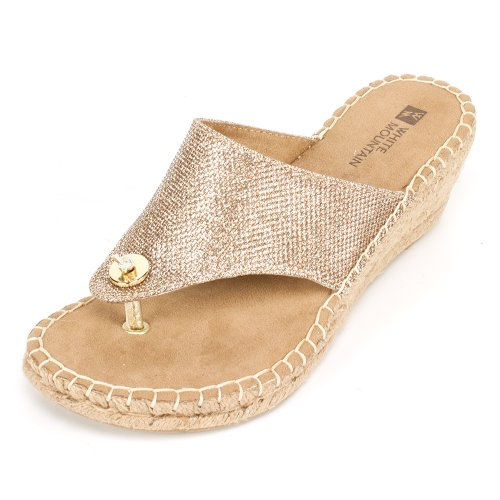 White Mountain Women's Beachball Wedge Sandal,Light Gold Glitter,7 M US ()