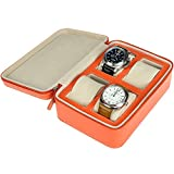 Monkig Leather Travel Watch Case With Gift Pack Storage Organizer for 4 Watches and Bracelet Orange-423-4