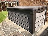 Keter Brushwood XL Size, 120 Gallon Outdoor Garden Patio Storage Furniture Deck Box Stunning Wood Look Plastic