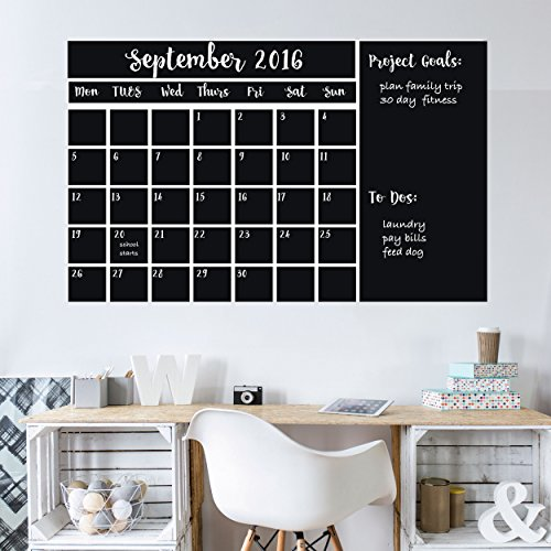 Wall Calendars Chalkboard Decal (NEW & IMPROVED, GUARANTEED TO STICK!) ~ 4 Color Markers & Eraser ~ XL Large 47'x 28' ~ Monthly Calendar Whiteboard Planner ~ Keeps Family, School & Work Organized