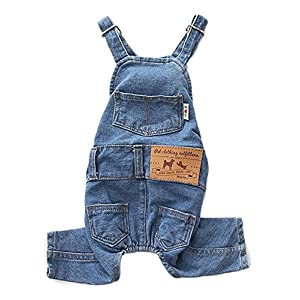 PetBoBo Dog Clothes Costumes, Pet Jean Overalls Clothes, Pet Dog Jean Skirt, Pet Fashion Dress/2 Styles 5 Sizes Optional Jean Overalls L
