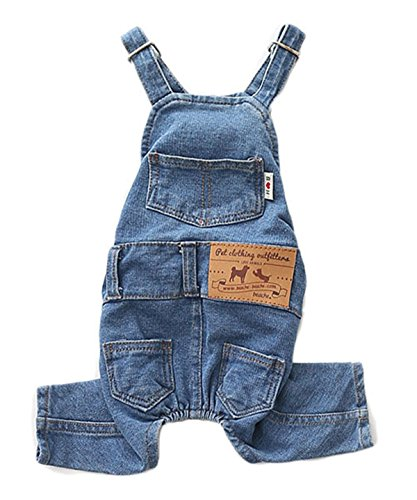 PetBoBo Dog Clothes Costumes, Pet Jean Overalls Clothes, Pet Dog Jean Skirt, Pet Fashion Dress/2 Styles 5 Sizes Optional Jean Overalls S