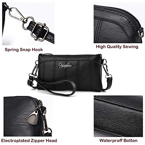 Wrist Shoulder Phone Wristlet Small Women Bag Strap Waterproof with Shoulder Black Cellphone Purple Purse PU Crossbody Clutch Handbags Leather Bags Pouch fxTSxwq