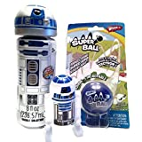 Star Wars R2D2 Robot Bubble Bouncing Trinket Outdoor Activity Bundle - 3 Items: One R2D2 Robot Blowing Bubbles Character Figure One R2D2 Trinket Treasure Box One Blue Super Wham-O Ball [parallel import goods]