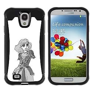 "Pulsar iFace Series Tpu silicona Carcasa Funda Case para Samsung Galaxy S4 IV I9500 , La princesa guerrera arte Dibujo Lápiz Espada"""