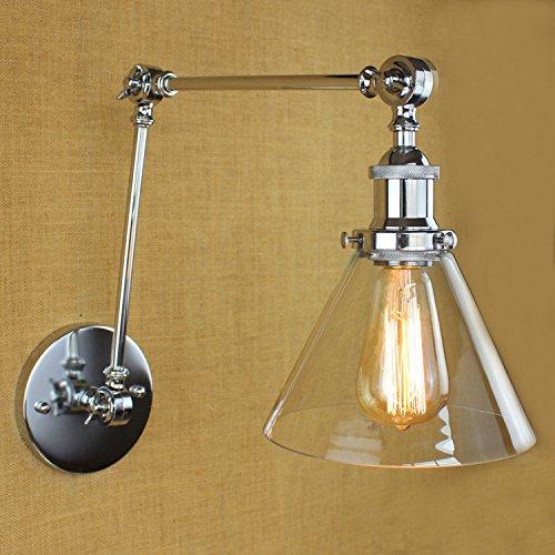 5151BuyWorld Weinlese überzog Industriewandleuchte Cafe Kleidung Shop-Double Arm Verstellbare LED-Leuchten Badezimmer Glas-Leuchter-Befestigung [No Birne, 31-40W]