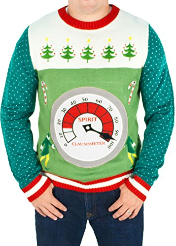 Mens Elf The Movie Lighted Clausometer Sweater Green Ugly