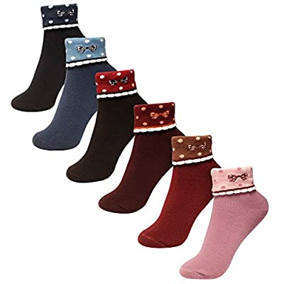 6 Pairs Colorful Fun Patterned Cute Dress Women Cotton Crew Socks