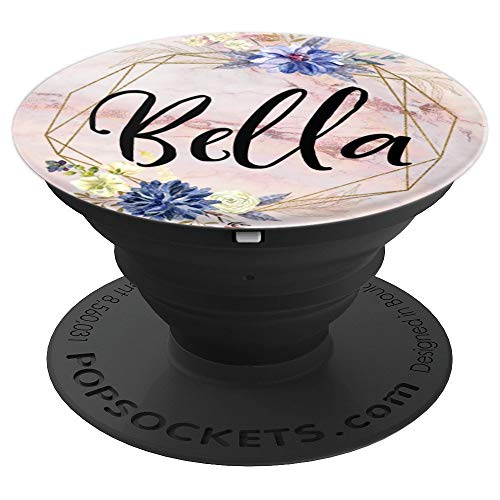 Bella Name on Flowers Rose Pink Pattern - Bella - PopSockets Grip and Stand for Phones and Tablets