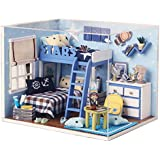 Yiuswoy Star Dollhouse Miniature DIY Kit Bedroom Mini House Model Gift With Cover and LED Light