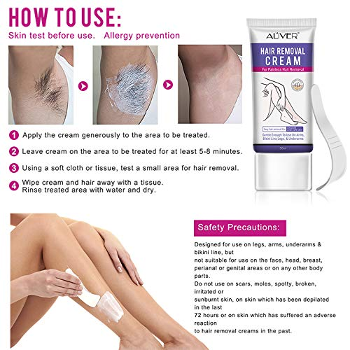Hair Removal Cream, Depilatory Cream for Sentitive Skin, Underarm, Leg and Bikini Body, Hair Removal Cream Skin Friendly, Natural Painless Flawless Hair Removal Cream for Women and Men