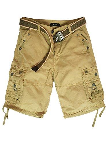 Xudom Womens Cargo Shorts Casual Bermuda Cotton Multi-Pockets Pants Khaki US L
