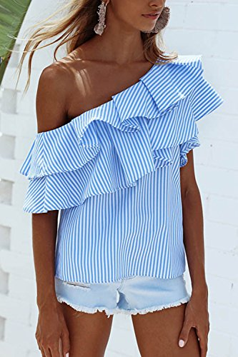 De manga corta un hombro de la mujer rayas camiseta Tops Blue