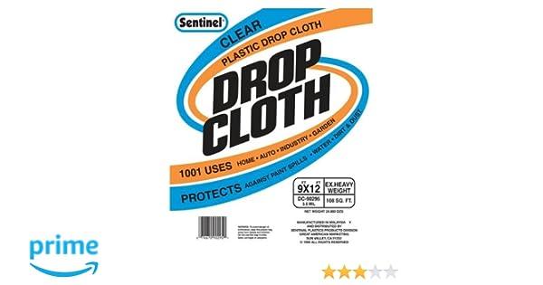 sentinel handy 9by12 clear plastic drop cloth dc90295 paint drop cloths amazoncom