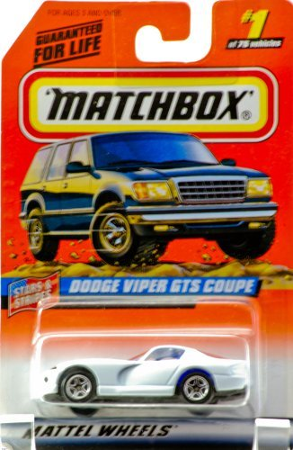 (1997 - Mattel - Matchbox - #1 of 75 Vehicles - Dodge Viper GTS Coupe - White / Blue Stripes - Star & Stripes Edition - Series 1 - New - Out of Production - Limited Edition - Collectible)