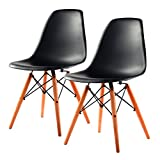 Giantex Black 2pcs Mid Century Modern Style DSW Dining Side Chair Wood Legs