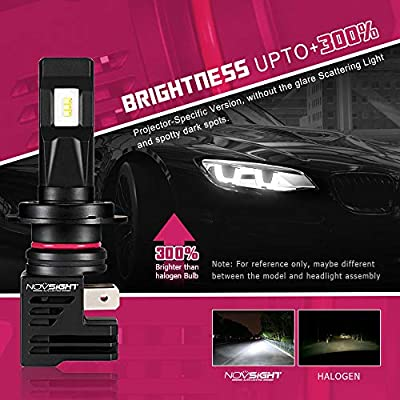 H7 LED Headlight Bulbs [ Mini Size ] Low Beam/Fog Light, NOVSIGHT Mini Design Upgraded 6000K Cool White Headlight Conversion Kit with Fan - 2 Year Warranty (H7): Automotive