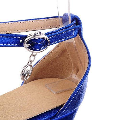 Amoonyfashion Donna Materiale Morbido Fibbia Peep Toe Sandali Tacchi Alti Blu