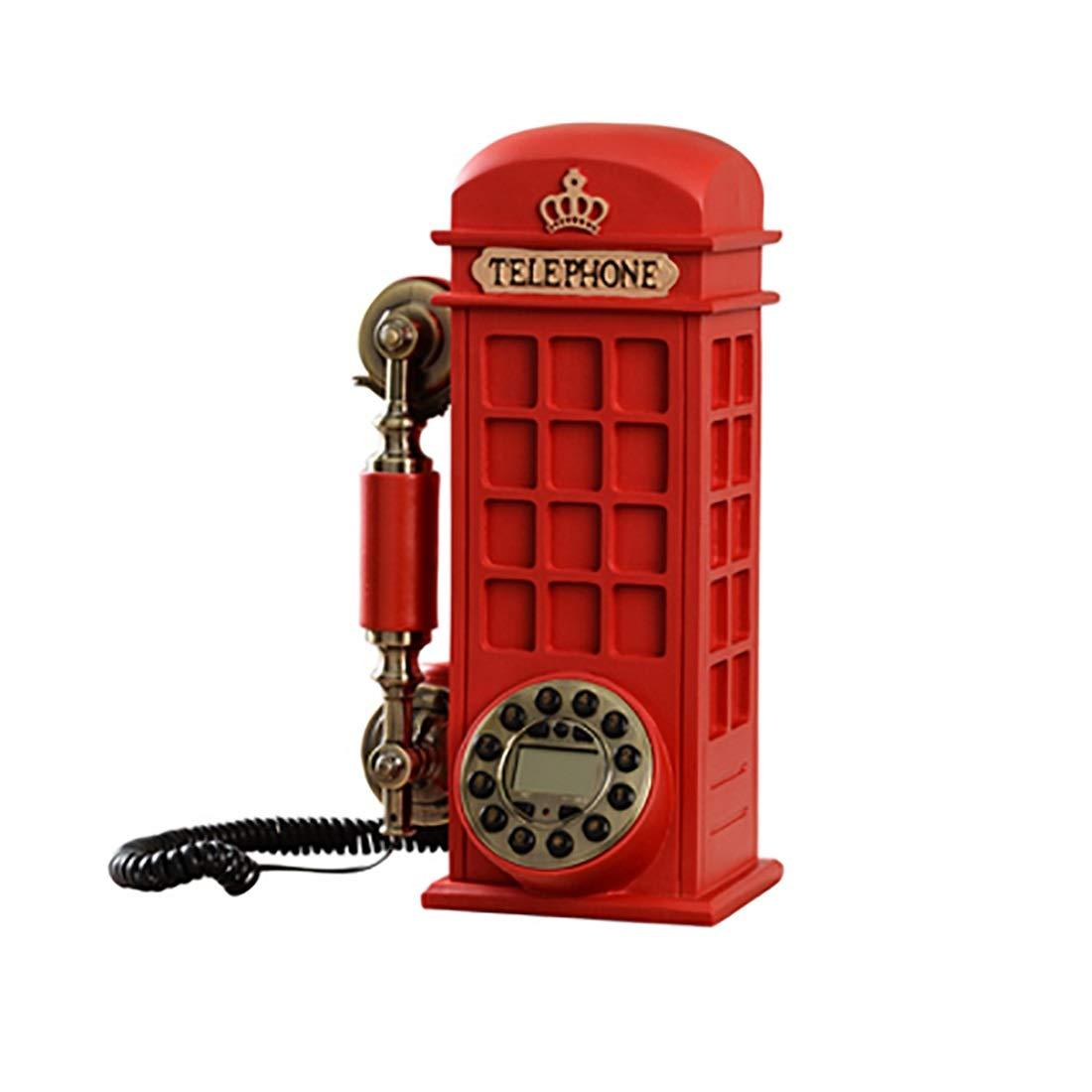 ZHILIAN Red Personality Creative Phone Booth European Retro Fixed Telephone Family Landline