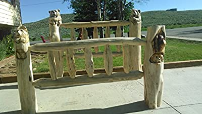 Bear Bed - log bed with carved bears, chainsaw carvings