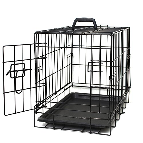 OxGord 20″ Small Dog Crate, Single-Door Folding Metal w/ Tray   20″ x 13″ x 16″   2016 Newly Designed Model 51ybfDemi0L