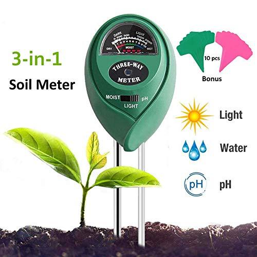 Adorma Soil pH Meter, 3-in-1 Soil Test Kit for Moisture,Light&pH Meter,Gardening Tool Kits, Great for Garden, Plants,Lawn, Farm,Indoor & Outdoor (10 Free Bonus Garden Labels)
